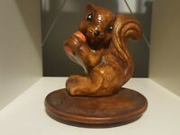 "Vintage Ceramic Lid, Retro 70s, Happy Squirrel with Nut, Brown Heavy 7"" stamped"
