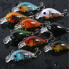 9pcs Minnow Fishing Lures Bass Crankbait 10#Hooks Tackle Crank Baits 4.5cm/4g