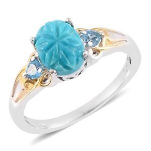 SB Turquoise, Blue Topaz 14K YG and Platinum Over Sterling Silver Ring Sz 7 New