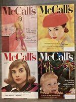 4 VINTAGE McCALL'S MAGAZINES September-December 1955 Models, Kitchens, Recipes