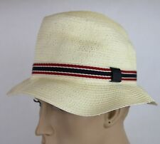 New Gucci White Straw Fedora Hat w/BRB Web, M, 309141 9570
