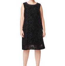 MARINA RINALDI Women's Black Doppio Leopard Print Velour Dress $470 NWT