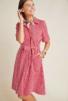 Anthropologie $140 Maeve Kiana Candy Striped Red White Button Shirt Dress Size M