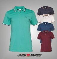 Mens Jack And Jones Short Sleeves Breathable Contrast Polo Shirt Top Size S-XXL