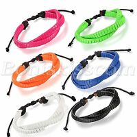 Men's Fashion Handmade Braided PU Leather Colorful Bracelet Adjustable Wrap Cuff