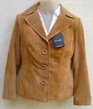 Preston York Womens Genuine Leather Suede Jacket Coat XS Pocket Camel Brown $129