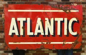 Large 1940s ATLANTIC Oil Garage Gas Station Porcelain 2-Side Advertising Sign