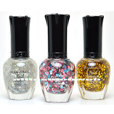 3 KLEANCOLOR NAIL GLITTER POLISH SILVER STAR, HEART LOVE, GOLD LACQUER 3SET11