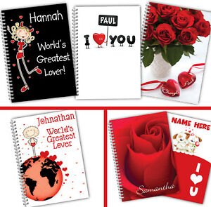 Personalised Notebook Notepad Valentine Gift A5 Softbacked Red Love
