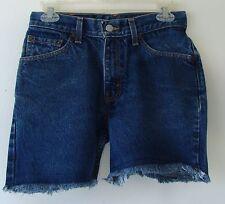 Women`s LEVIS 517s Dark Blue Cut Off Jean Shorts Frayed Bottoms Size 7 Jr.