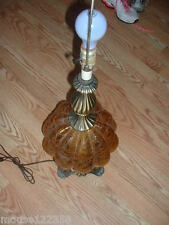Vintage footed amber  Crackle Glass Lamp Tall lights on top and bottom
