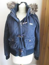LADIES SUPERDRY DUFFLE JACKET BLUE SMALL APX UK 8-10 FAUX FUR HOOD / LINING