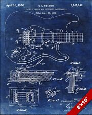 VINTAGE FENDER STRATOCASTER ELECTRIC GUITAR PATENT REAL CANVAS MUSIC ART PRINT