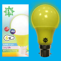 1x 6W LED Yellow Coloured GLS A60 Light Bulb Lamp BC B22 Low Energy 110 - 265V