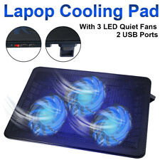 "11""-17"" Laptop Cooling Pad Cooler Stand Coolpad Fan Mat External Notepad In USA"