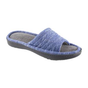 NEW Isotoner Andrea Slide Womens Slip-On Slippers BLUE MEDIUM 6.5-7