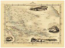 Old Vintage Map Polynesia richly illustrated Tallis 1851