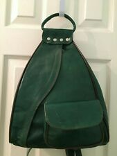 "New Green leather backpack bag purse ""guitar"" style w front and back access"
