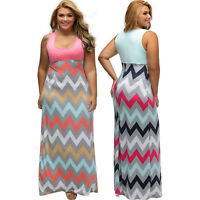 Women Plus Size Light Blue Top Multicolor Zigzag Maxi Dress Stage Dance Zip