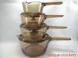 Corning Vision Brown Amber France 3 x Saucepans Set with lids & 1 x Milk Pan