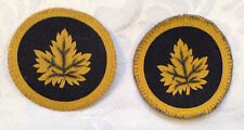 2 Used Canadian WW2 Canvas Printed Military Headquarters Sleeve Patches