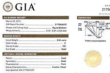 GIA certified .54ct round diamond VS1 E 5.13-5.21x3.24mm estate vintage antique