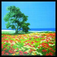 Robin el viejo árbol y el mar imagen de póster en el arte fino marco de aluminio 70x70cm