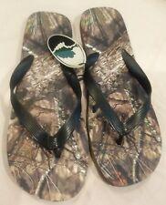 NWT MOSSY OAK  Black  / Camo Flip Flops Sandals  Mens Medium M 9 10