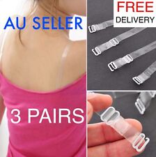 3 PAIRS Women's Clear Invisible Transparent Adjustable Bra Straps See Through