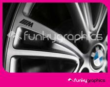 BMW M SPORT SMALL LOGO ALLOY WHEEL DECALS STICKERS GRAPHICS x5 IN BLACK VINYL