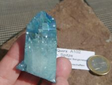 Aqua-Aura Spitze  A102  ca.5,88cm Bergkristall mit Gold bedampft  USA