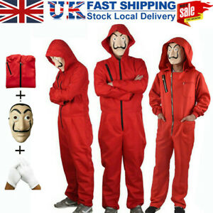 Halloween Party Outfits Money Heist Carnival Cosplay Adult Costume Jumpsuit Mask