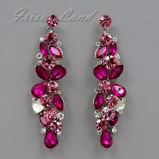 Rhodium Plated Fuchsia Crystal Rhinestone Chandelier Drop Dangle Earrings 08572