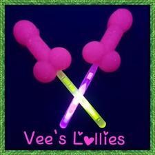 Hens night penis lollipops x10 pink w/ Glow stick & glow in UV light candy