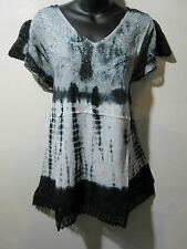 Top Fits XL 1X 2X Plus Tunic Black Lace Sleeve Sequins V Neck A Shape NWT B76