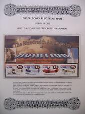 Irrtümer auf Briefmarken / Sierra Leone Mi Klbgs 4458 - 4461 : Brüder Wright