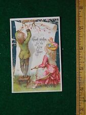 1870s-80s Good Wishes for the New Year Kids Giant Paper Victorian Trade Card F23