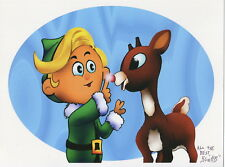 Rudolph The Red-Nosed Reindeer W Hermey Signed Tribute Print 8.5x11 With COA