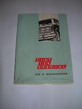 FIAT 124 SPECIAL MANUALE USO MANUTENZIONE ORIGINALE 6 edizione stampa del 1970