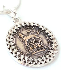 Silver Sixpence Silver Coin Pendant Wedding Jewelry England Lion Sterling Silver