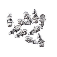 snowman christmas Tibetan Silver Bead charms Pendants fit bracelet 10pcs 25*12mm