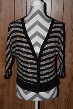 Delias Black Striped Floral Button Front Cardigan Sweater Size large V Neck