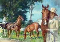 "Edmond Tarbell, NEW CASTLE POPPY, Horses, antique decor, 14""x10"" ART PRINT"