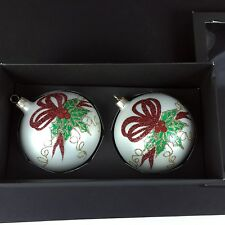 Vitbis Blown Glass Christmas Ball Ornaments Poland Holly Berry Glitter New