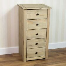 Panama 5 Drawer Narrow Chest Natural Wax Oak Solid Pine Bedroom Furniture