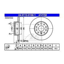 2 St. ATE 24.0112-0158.1 Bremsscheibe   für VW Touran Golf Plus Golf V Skoda