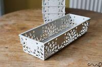 NEW Grey Small Plastic Lace Storage Basket  Kitchen Organiser Narrow Baskets