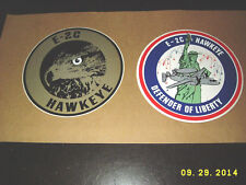 VINTAGE GRUMMAN E-2C HAWKEYE & DEFENDER OF LIBERTY AIRCRAFT STICKER DECAL PAIR