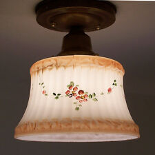 120a Vintage 40s 50s Glass Ceiling Light Fixture hall, kitchen entry floral