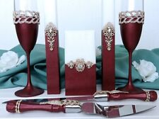 Burgundy crystal wedding flute Cake knife and server set Unity candle set